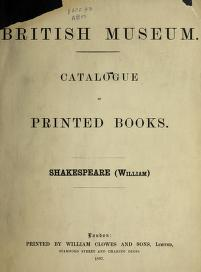 Catalogue of printed books by British Museum. Department of Printed Books.
